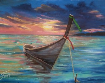 Sunset over the sea - original contemporary oil painting// seascape//sunset//boat// sea // ocean //beach