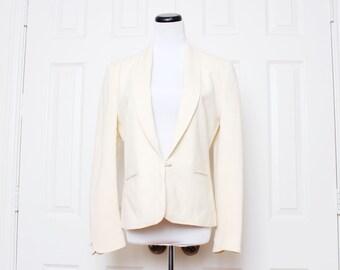 Vtg 80s Cream Boyfriend Business Tuxedo Secretary Blazer M