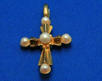 Vintage Gold Tone Faux Pearl Cross Religous Pendant