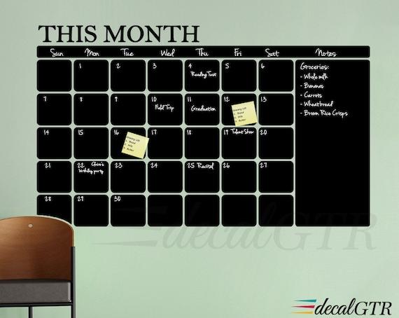 Chalkboard Calendar Wall Decal : Chalkboard calendar decal or black board wall