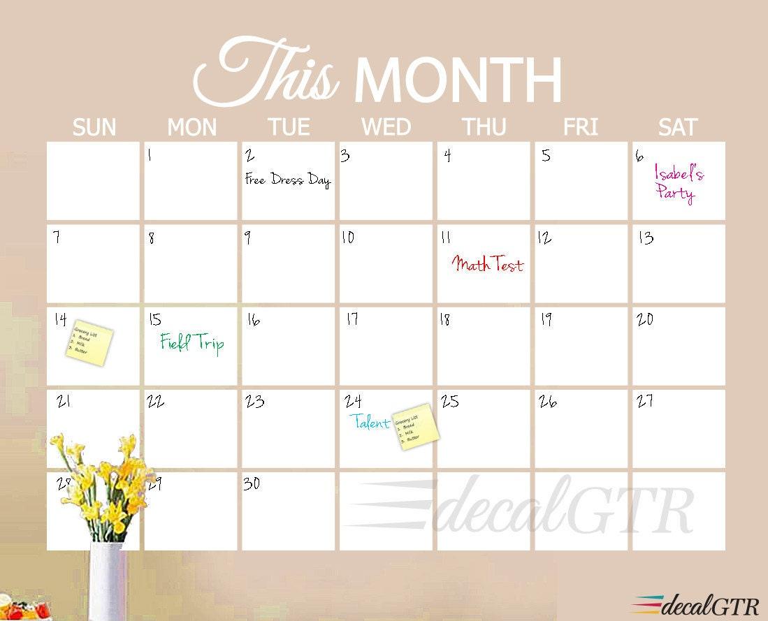 Dry Erase Calendar Decal : Dry erase calendar decal or