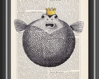 puffer fish with crown bathroom decor cute vintage dictionary print home decor wall art #160