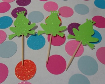 12 Glitter Princ Frog Cupcake Toppers ( 11 Color )
