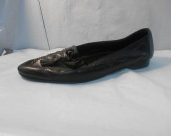 Vintage Cole Haan Black Leather Tassel Loafers Men's Size 12 M