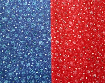 2-1/2 Yard Blue and Red Calico Fabric 1/2 Yard of Each