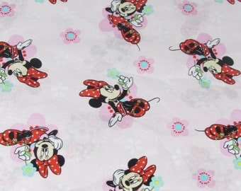 Disney Minnie Flowers Fabric Light Pink Background