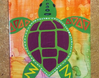 Tie-Dye Turtle Canvas