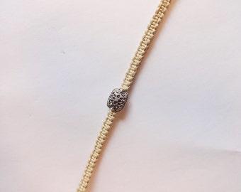 Silver Bead Macrame Bracelet