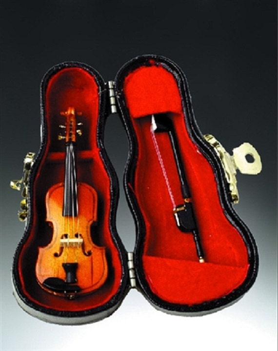 3 Violin Miniature & Case Music Instrument Fairy By