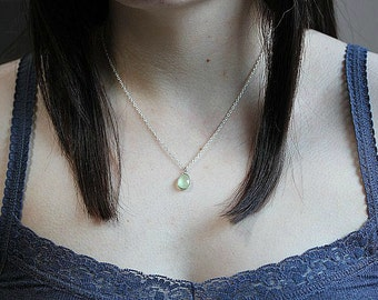 Green Chalcedony necklace - Sterling Silver chalcedony necklace - Minimalist Jewelry - Delicate necklace