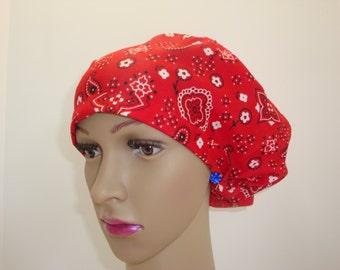 PAISLEYS on RED -Handmade-ChemoCap-Woman-100 % Cotton