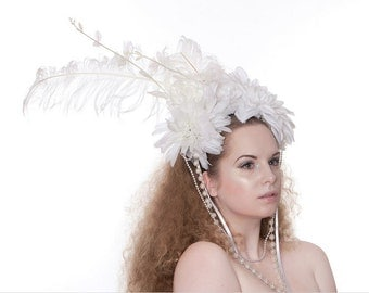 White elegant showgirl headdress.