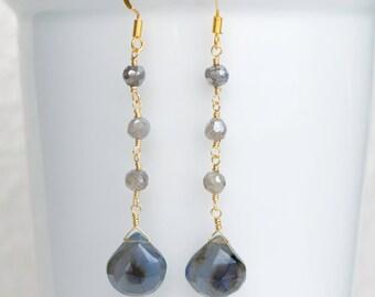 Labradorite Earrings, Blue Chalcedony Earrings, Wire Wrapped Earrings, Chalcedony Dangle Earrings, Handmade Gemstone Earrings
