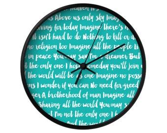 Imagine Song Wall Clock, 5 Colors Options, Blue, Aqua, Decorative, Typographic, Home Decor, The Beatles, Imagine, John Lennon, Music Lyrics
