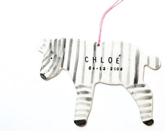 Zebra Personalized Ornament White And Black Minimal Custom Holiday Christmas Gift Keepsake Decor Porcelain Pottery MADE TO ORDER