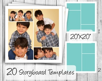Storyboard Templates, set of 20 - 20x20 square photoshop collage files for blogs, portraits or wedding albums - psd instant download