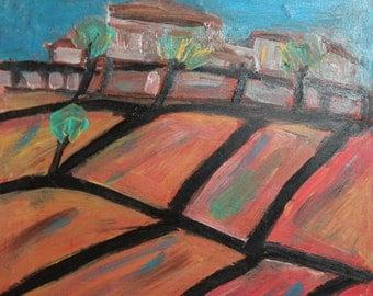 Vintage landscape oil painting avant garde