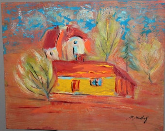 Vintage postimpressionist landscape oil painting signed