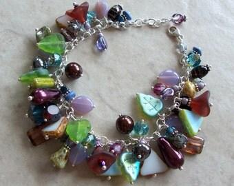 Bohemian Summertime Dangle Charm Bracelet ~ Czech Glass Beads ~ Sterling Silver ~ Adjustable ~ Boho Fashion ~ Multi Many Dangles