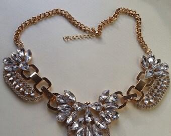 Crystal Cluster Bib Gold Statement Necklace