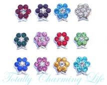 Rhinestone Flower Birthstone Month Stone Floating Charm fits Living Memory Floating Origami Locket Necklace Jewelry