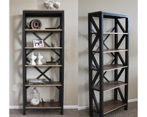 Tall Bookcase in charcoal and walnut finish, Bookcase,  Open shelving, Display shelf, Industrial bookcase, Rustic Bookcase