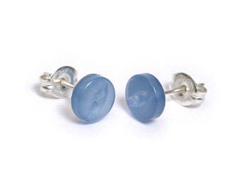 Button Stud Earrings - 6mm light blue - Sterling Silver or Surgical Steel