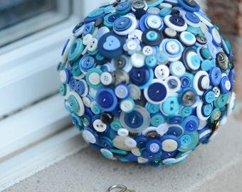 Blue Button Bouquet, Blue Button Pomander, Button Kissing Ball, For Brides, Bridesmaids, Flower girls, Wedding Bouquet Alternative