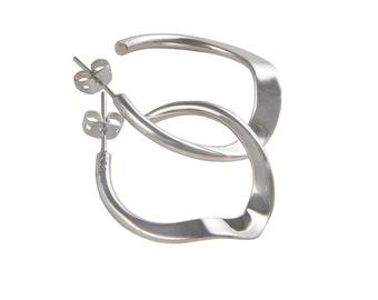 Silver Hoops - Wave