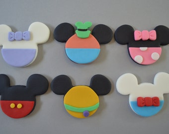 12 Mickey Mouse Clubhouse Cupcake Toppers-Fondant