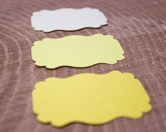 Yellow Ombre Die Cut Bracket Labels - MULTIPLE COLORS - DIY Die Cut Tags - Card Stock Label - Scrapbooking