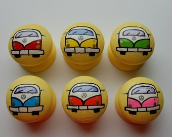 Campervan Drawer/ Cupboard Handles Hand Painted Set of 6- 3 sizes available 30mm, 40mm, 53mm
