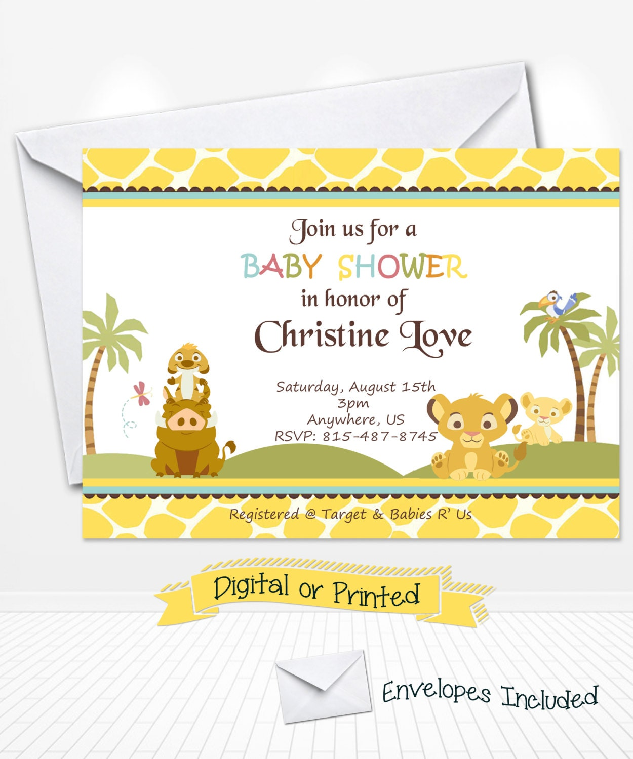 simba lion king baby shower invitations printed by andabloshop
