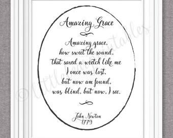 Amazing Grace hymn lyrics wall art, printable John Newton, Christian hymn Amazing Grace, how sweet the sound, amazing grace quote