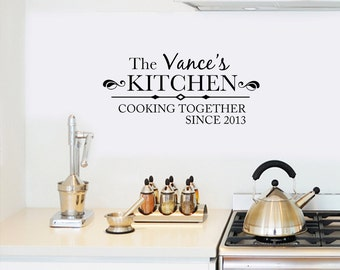 Personalized Cooking Since Family Name Kitchen Wall Decal