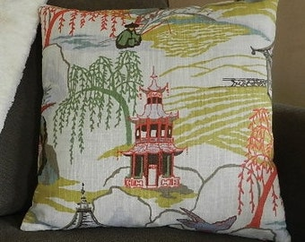 7 Sizes Available - Robert Allen Neo Toile / Coral Pillow Cover 18 inches x 18 inches