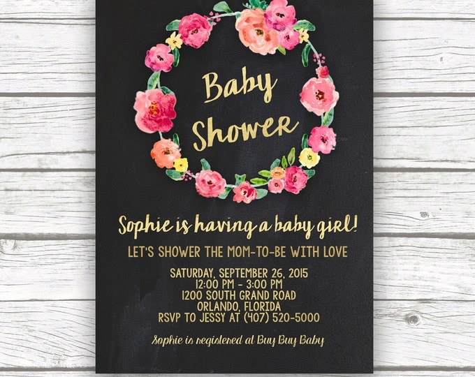 Chalkboard Pink and Gold Foil Baby Shower Invitation, Hot Pink Peony Floral Wreath Invite, Baby Girl Shower, Printed or Printable Invitation