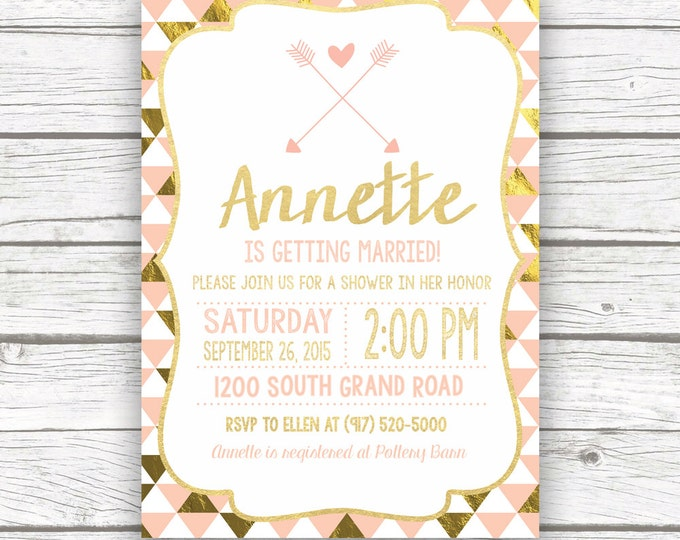 Peach and Gold Foil Bridal Shower Invitation w/ Matching Back, Pink Gold Bridal Shower Glam Invite, Arrow Printed or Printable Invitation