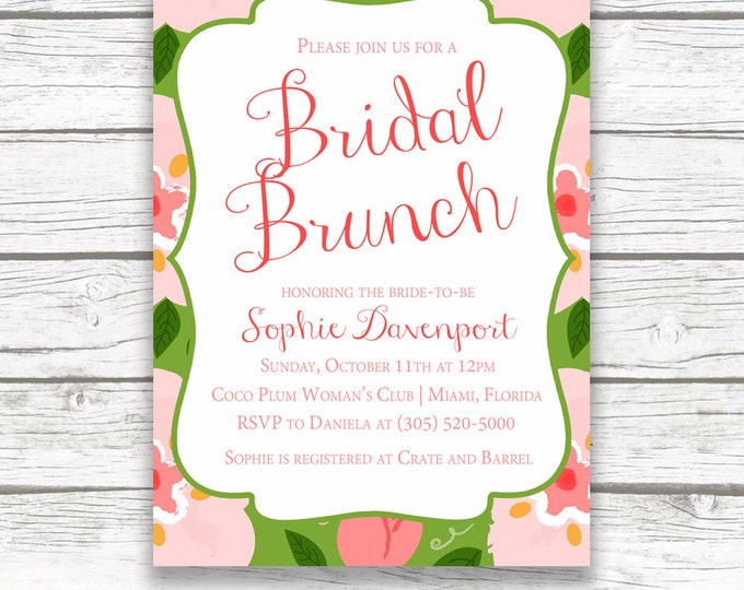 Pink and Green Floral Bridal Shower Invitation w/ Matching Back, Preppy Garden Bridal Shower, Calligraphy, Lilly Printed or Printable Invite