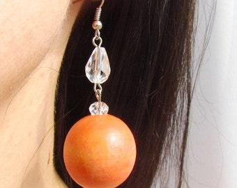 Wooden earrings Eco wood Ball orange earrings with glass bead Natural and handmade wooden jewelry unique Gift  One of a kind