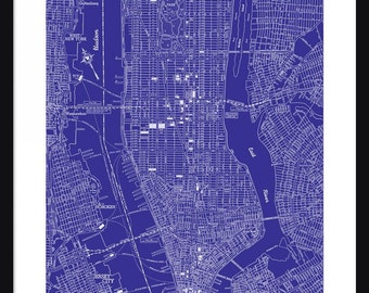 New York Vintage Map - New York - Blue - Print - Poster