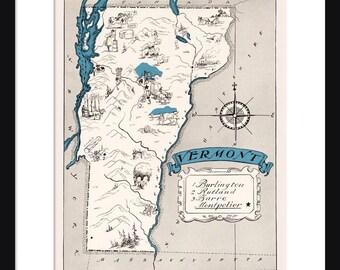 Vermont Map Etsy - Vermont map