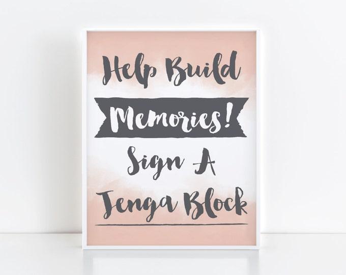 Jenga Sign- Help Build Memories- Grey with Blush- PDF Download
