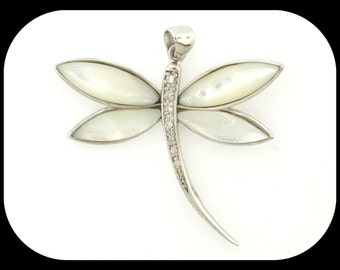 Large DRAGONFLY mother of pearl & CZ .925 sterling silver PENDANT