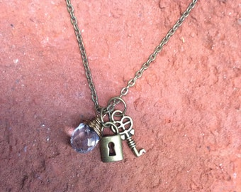 Lock and Key Charm Necklace with Crystal