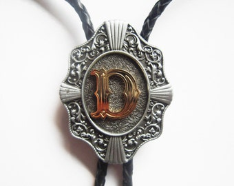 """Initial Letter """"D"""" Western Cowboy Rodeo Bolo Tie"""
