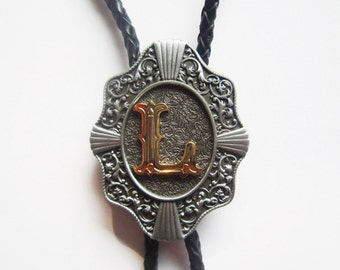 "Initial Letter ""L"" Western Cowboy Rodeo Bolo Tie"