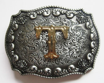 """Initial Letter """"T"""" Western Cowboy Rodeo Belt Buckle"""