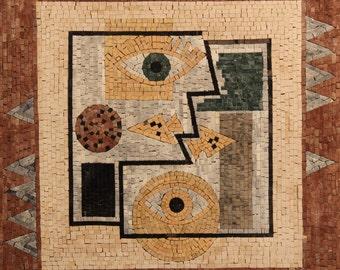 Beautiful Artistic Mosaic Art Abstract Faces Mural Design Marble Mosaic GEO2080
