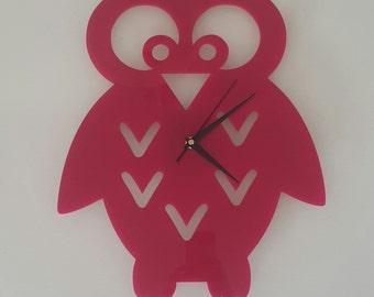 Owl Clock - Pink Perspex